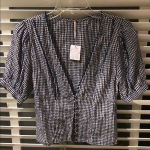 Free People checkered blouse